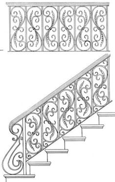 Stair Railing Design Drawings: Inspirations For You Balcony Or Bannister Iron Staircase, Wrought Iron Stairs, Iron Stair Railing, Metal Stairs, Stair Handrail, Metal Railings, Staircase Design, Steel Railing Design, Metal Drawing
