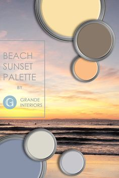 Warm coastal color palette inspired by a beach sunset. Perfect for coastal cottage or beach house. Coastal Color Palettes, Coastal Colors, Coastal Decor, Paint Companies, Paint Brands, Residential Interior Design, Interior Design Companies, Coastal Cottage, Coastal Homes
