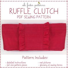 Ruffle Clutch PDF Sewing Pattern and Tutorial