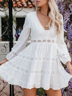 Get Discount $6 OFF Over $59, $10 OFF Over $89, $25 OFF Over $159 #Womensdresses #womendresses #womenapparel #womensclothing #womensclothes #fashion #onlineshop #onlineshopping #bigdiscount #shopnow #DiscountSale #discountprices #discountstore #discountclothing #fashionista #fashionable #fashionstyle #fashionpost #fashionlover #fashiondesign #fashionkids #fashiondaily #fashionstylist #fashiongirl Slim Fit Dresses, Nice Dresses, Shift Dresses, Women's Dresses, White Skater Dresses, White Dress, Online Shopping, V Neck Dress, Flare Dress