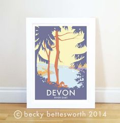 Devon River Dart at Dawn Poster vintage style railway travel posters at beckybettesworth.myshopify.com