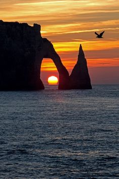 Sunset on the Normandy coast ... Étretat, France  --- by Emmanuel Fleury