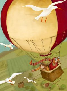 When it comes to children's illustration, I prefer traditional materials - watercolor and acrylics are my favorite. Illustration Vector, Children's Book Illustration, Balloon Illustration, Illustration Children, Whimsical Art, Hot Air Balloon, Cute Art, Childrens Books, Illustrators