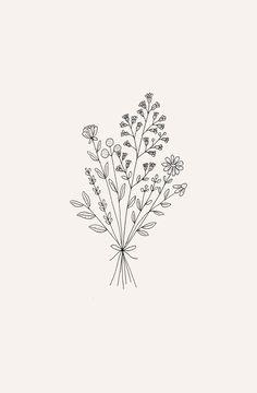 Tatto Floral, Flower Tattoos, Small Tattoos, Fenrir Tattoo, Illustration Blume, Botanical Illustration, Floral Illustrations, Floral Drawing, Simple Flower Drawing