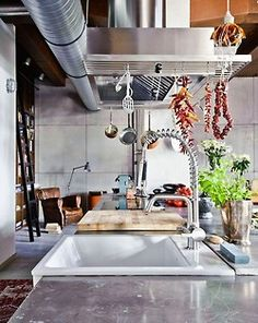 Eclectic Loft Apartment in Budapest by Shay Sabag Industrial Style Kitchen, Loft Kitchen, Eclectic Kitchen, Industrial House, Kitchen Interior, Industrial Chic, Kitchen Sink, Industrial Design, Studio Kitchen
