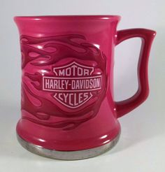 Harley Davidson Pink Duo Flame 15 ounce  Ceramic Mug New Awesome Free Shipping