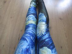 Van Gogh Starry Night Print Leggings / Yoga Leggings by Addmein.