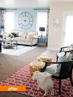 apartment therapy before and after living room. I like the color combination and the big clock.