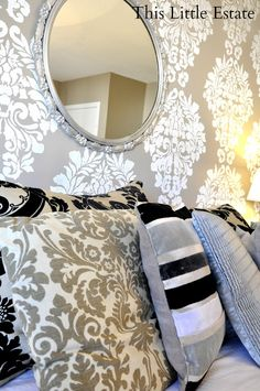 Large Fabric Damask Stencil by Royal Design Studio on wall. Feature by the This Little Estate blog.