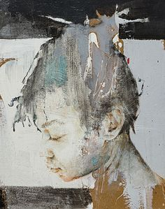Massimo Lagrotteria, mixed media {contemporary #expressionist art female head profile woman face portrait grunge cropped painting} massimolagrotteria.com