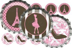 Eiffel Tower/Paris Girl Silhouette Bottle Cap Images 1 Inch Digital Collage - Instant Download $2.00  for DIY jewelry!