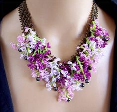 Gorgeous Pink and Purple Clustered Necklace Earrings Set - VIRR