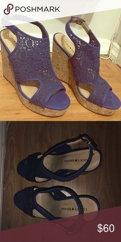 Lucky Brand Open Toe Canvas Blue Wedge Sandal Only worn once and in fantastic condition. 5 inch heel. Canvas upper. Cork wedge. Faux-suede strap and toe. Slight padding on sole for a more comfy fit! Some residue from tag on bottom but otherwise perfect. Lucky Brand Shoes Wedges