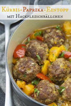 Würzig. Deftig. Gut! Kürbis-Paprika-Eintopf mit Hackfleischbällchen | Zubereitungszeit: 1h | http://eatsmarter.de/rezepte/kuerbis-paprika-eintopf-mit-hackfleischbaellchen