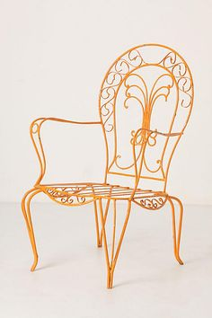 Flores Lawn Chair, Orange Scroll - anthropologie.com Lawn Chairs, Garden Chairs, Outdoor Chairs, King Chair, Chaise Chair, Wrought Iron Chairs, Metal Chairs, Vintage Patio, Vintage Chairs