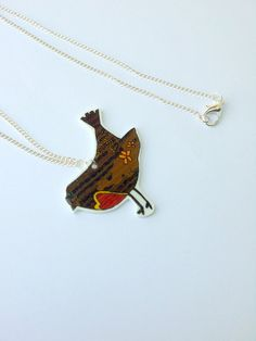Original Bird necklace shrink plastic pendant hand by Floralchic, £11.00