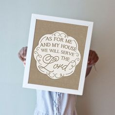 "Printable art in 8x10"" or 11x14"".  ""As For Me And My House"" in burlap.  50% of all profits go straight to orphan care ministries, missions, and adoptions."