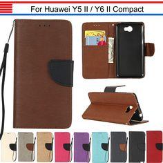 JURCHEN Funda For Huawei Y5II Case Silicone For Huawei Y5 II Cover Flip Leather Luxury For Huawei Y6 II Compact Case Coque 30