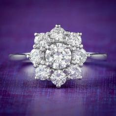 DIAMOND CLUSTER ENGAGEMENT RING PLATINUM 1.30CT OF DIAMOND cover