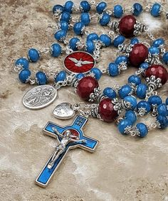 Easter Confirmation Holy Spirit Longevity Happiness Stress Good Luck Blue Red Handcrafted Rosary