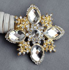 Rhinestone Brooch Embellishment Gold Crystal Pearl Wedding Brooch Bouquet Cake Decoration Hair Comb Clip BR276