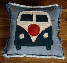 Handmade Jenniwren Originals Denim Cushion Cover   Handmade using recycled denim and featuring a VW Splitty Camper Van as Rudolph.  The Red nose is slightly padded  frayed on all sides envelope opening cushion pad NOT included size approx - 16 x 16 inches  machine washable    I am Jenni of Jenniwren Originals and I design and create my items from a shepherds hut in my garden in Warwickshire  Specialising in one off designs, bespoke and personalised products, each item is unique.  All…