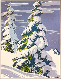 Eyvind Earle. Snow covered pines image.