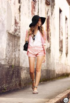 448bb7835c3e Discover this look wearing Red Gap Shorts - Stripe on Stripe by  fashioncoolture styled for Bohemian