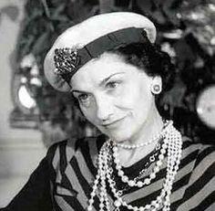 Coco Chanel in sailor inspired fashion.