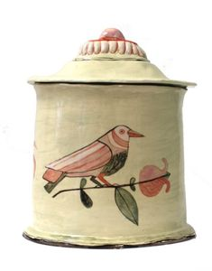 Claudia Rankin: A fine hand made ceramic lidded pot or 'casket'. Painted in the artist's signature glazes of smokey creams, salmon pinks and smudgy greens. Ceramic Cups, Ceramic Pottery, Ceramic Art, Hand Painted Plates, Effigy, Color Tile, Casket, Art Club, Clay