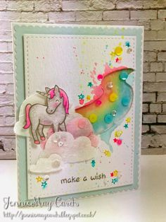 Lawn Fawn Critters Ever After; rainbow; unicorn; watercolor; clouds; vellum; birthday; girl
