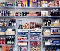 Wire basket and shelves for an inexpensive pantry