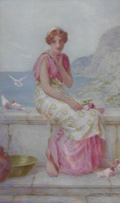 Woman w/ Rose - Henry Ryland