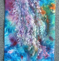 Mixed media impressionist abstract blossoms art painting (ref 980) £10.00