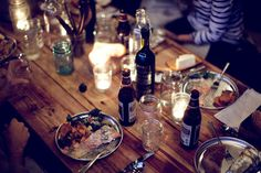 A delightful dinner by candlelight. Dinner With Friends, Great Friends, Friends Family, Dinner Table, A Table, Wood Table, Rustic Table, Deck Table, Night Table