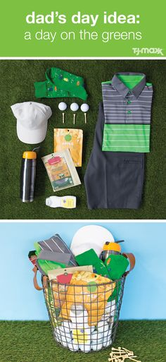 Gift Guide: A Day on the Greens  On the lookout for a father's day gift for a dad whose second home is the golf course? Treat him to a DIY gift basket complete with everything he's looking for. Dad can always use a new outfit, like a bold striped polo paired with neutral shorts and socks featuring an unexpected pattern. To keep him fueled throughout the day, pack plenty of snacks and a thermos. And don't forget the sunblock!