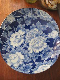 Vintage Blue and White Japanese PEONY Platter. $26.00, via Etsy.