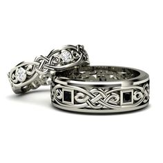 925 Sterling Silver Celtic Couple Rings for His and Her