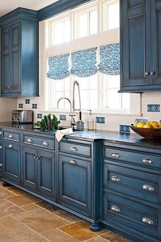 20 Most Popular Kitchen Cabinet Paint Color Ideas It looks spotless that you can feel peaceful being here. The wall seems to be marble and it has a similar tone with the cabinet. An island with a marble countertop - White N Black Kitchen Cabinets Dark Blue Kitchen Cabinets, Dark Blue Kitchens, Best Kitchen Cabinets, Farmhouse Kitchen Cabinets, Kitchen Cabinet Colors, Painting Kitchen Cabinets, Diy Kitchen, Kitchen Ideas, Kitchen Paint