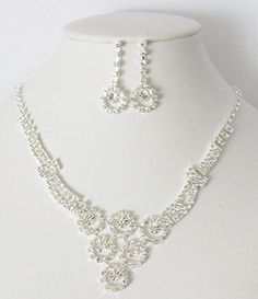 Greatmate Sparkly Rhinestone Bridal Necklace and Earring Set with Circle Design - Jewelry For Her