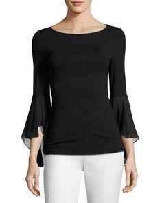 MICHAEL KORS Knit Ruffle-Sleeve Top, Black. #michaelkors #cloth #