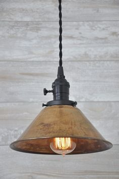 Unfinished Copper Spun Cone Industrial Pendant Light Fixture Rustic Vintage  #wiresnjars