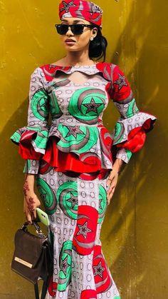 African Wear Dresses, African Fashion Ankara, African Attire, African Outfits, Ankara Peplum Tops, Ankara Skirt And Blouse, African Print Dress Designs, Couture Fashion, Fashion Dresses