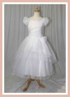 Christie Helene 2014 Communion Dress - P1240 - Ballerina Length Vintage Beaded Satin Organza Swirly Layered - Signature Collection