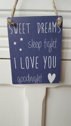 SWEET DREAMS SLEEP TIGHT I LOVE YOU GOODNIGHT MINI METAL CHIC N SHABBY SIGN