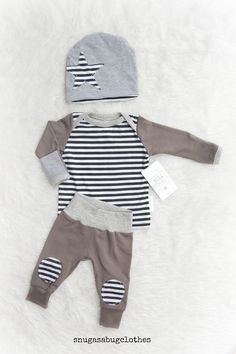 WHAT ABOUT THE BOYS?? Cool little stripe set with knee patches. Mocha/gray and black & white stripes accented with heather gray. The hat has