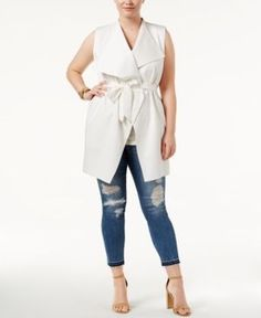 Whitespace Trendy Plus Size Belted Vest - White 0X