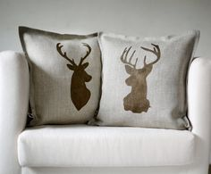 Deer head pillows set of 2 Reindeer antique bronze hand print on natural linen pillow covers 14x14 inch size/inserts included