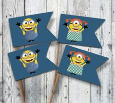 Printable MINIONS Party Flags for Kids  Yellow  by OopsyIdeas