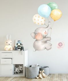 Elephant Balloons Watercolor Wall Decal Sticker Baby Nursery Art Decor - Boho-Woodland-Ethereal-Vintage Carnival-Tribal Baby Nursery Decor - My Website 2020 Baby Elephant Nursery, Baby Nursery Art, Nursery Wall Stickers, Wall Decal Sticker, Nursery Decals Girl, Elephant Wall Decal, Dumbo Nursery, Baby Nursery Wallpaper, Baby Wall Art